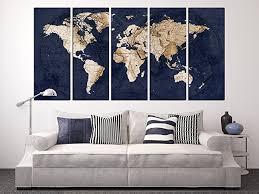 navy blue world map canvas art large wall art print framed world map wall on big print wall art with amazon navy blue world map canvas art large wall art print