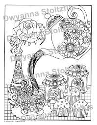 Thee En Muffins Kleurplaat Pagina Jpg Etsy