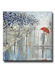 ORIGINAL Art Abstract Painting Couple Red Umbrella Girl Grey Navy Taupe  City Rain Modern Wall Art