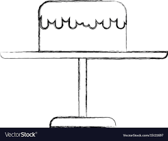 Sketch Draw Stand Birthday Cake Cartoon Royalty Free Vector
