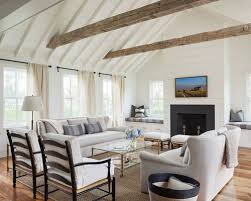Inspiration For A Farmhouse Living Room Remodel In Boston With White Walls