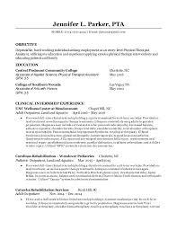 Resume For Physical Therapist Jennifer Parker Entry Level Pta Resume