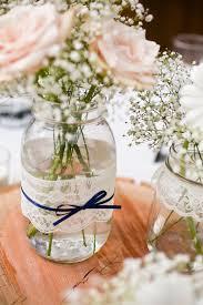 Lace Mason Jar Vases Wedding Table