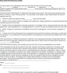 Promissory Note Templates Word Secured Promissory Note Template Promissory Note Template