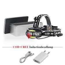 Dual Light Source Usb <b>Headlight</b> XML T6 <b>Ir</b> Sensor <b>COB Headlamp</b> ...