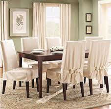 sure fit cotton duck shorty dining room chair cover natural