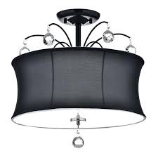 imposing black drum shade crystal semi flush mount chandelier 4 light fixture black lamp shade with