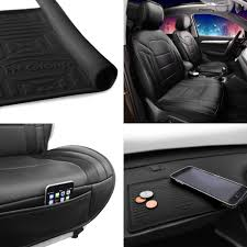 fh group faux leather seat covers cushion pad front bucket black w dash mat