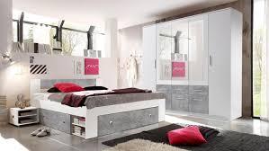 Schlafzimmer Stefan Box 5 Bett Schrank Weiß Beton 140x200