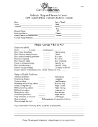 Ssm Doctors Note Fillable Online Sleep Study Questionnaire For Ssm Health