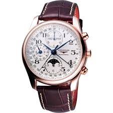tradition collection longines master collection chronograph white dial chronograph brown leather men s watch l26738783
