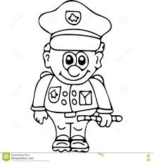 Funny Secutity Police Coloring Pages Stock Illustration