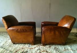 pair french vintage leather club chairs lionheart decorative antiques interiors homepage black chair and ottoman red