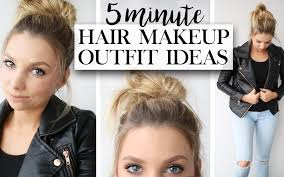 5 minute makeup hair outfit for back to