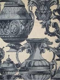 decor linen fabric multiuse:  linen  viscose classic vase print multi purpose