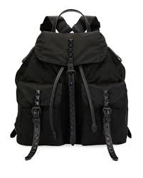 Prada Prada Black Nylon Backpack with Studding