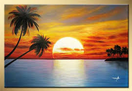 seascape beach wave the sunset rising and palm tree coconut landscape oil painting on canvas wall