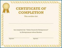 Certificate Of Completeion Certificate Of Completion Template Free Printable 241