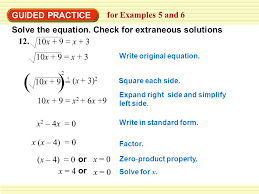 9 guided practice for examples 5 and 6 solve the equation