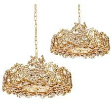 pair palwa crystal glass gold plated brass chandeliers refurbished lamps 1960 for