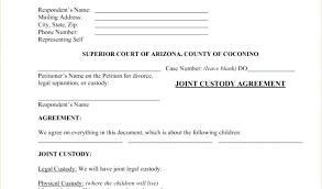 Custody Agreement Template Joint Child Custody Agreement Template