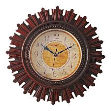 wooden round shape hanging wall clock