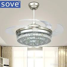 crystal ceiling fan morn led invisible crystal ceiling fans with lights bedroom folding ceiling light fan