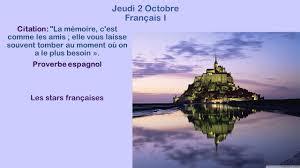Jeudi 2 Octobre Français I