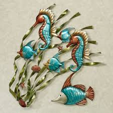 deep sea wall art turquoise touch to zoom on seahorse wall art for bathroom with deep sea fish and seahorse metal wall art