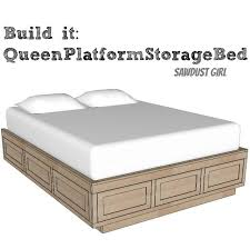 Queen Size Platform Bed Frame with Storage Drawers - Sawdust Girl®