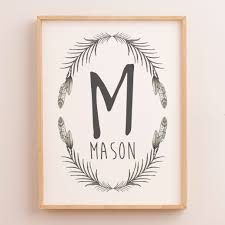 baby boys boho woodland nursery or bedroom wall art decor name print personalised on personal wall art baby name with personalised birth prints baby name wall art the kids print store