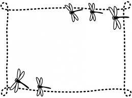 秋とんぼの白黒点線フレーム飾り枠イラスト 無料イラスト かわいい