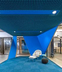 office blue. Knoll Womb Chair Against Bright Blue Quiet Space At Venafi Headquarters - Salt Lake City Office