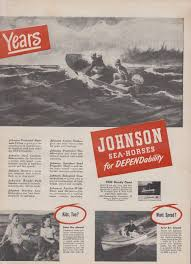 2 Page 1948 Johnson Outboard Motor Ad Boating Retro