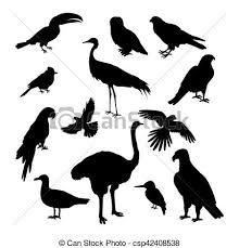ベクトル シルエット セット 鳥 イラスト