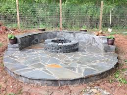 flagstone patio around fire pit