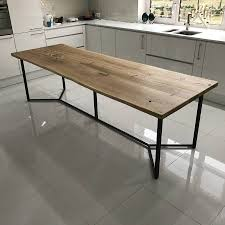 industrial dining table. Solid Live Edge Oak Industrial Dining Table O