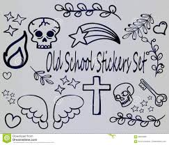большой комплект эскизов шаржа татуировки старой школы иллюстрация