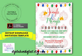Office Party Invitation Templates Mesmerizing Jingle And Mingle Christmas Party Invitation Template Home Etsy