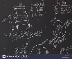 furniture design drawings. furniture design sketches on a blackboard. interior drawings. drawings i