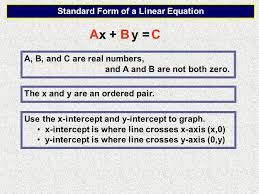 a b c x y standard form of a linear equation a b and