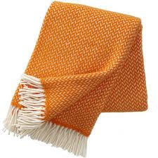 orange polka wool throw  the blue door
