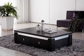living room black coffee table with drawers furniture minimalist stained varnished contemporary fur grey carpet