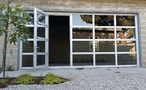 clear garage doorsGlass Garage Doors with Passing Door  Full View Anodized Aluminum