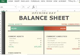 Opening Day Balance Worksheet For Excel