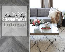 herringbone hairpin leg coffee table tutorial