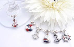 nautical wine glass charms enamel wine charms