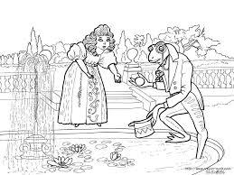 カエルの王子様と鞠お姫様の塗り絵の下絵画像