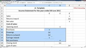 How To Make A Profit Loss Statement In Excel A Level Accounting Trading Profit and Loss Account Balance Sheet 1