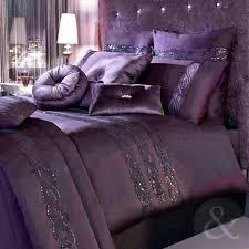 luxury cotton duvet cover satin sequin purple bedding bed set queen size single